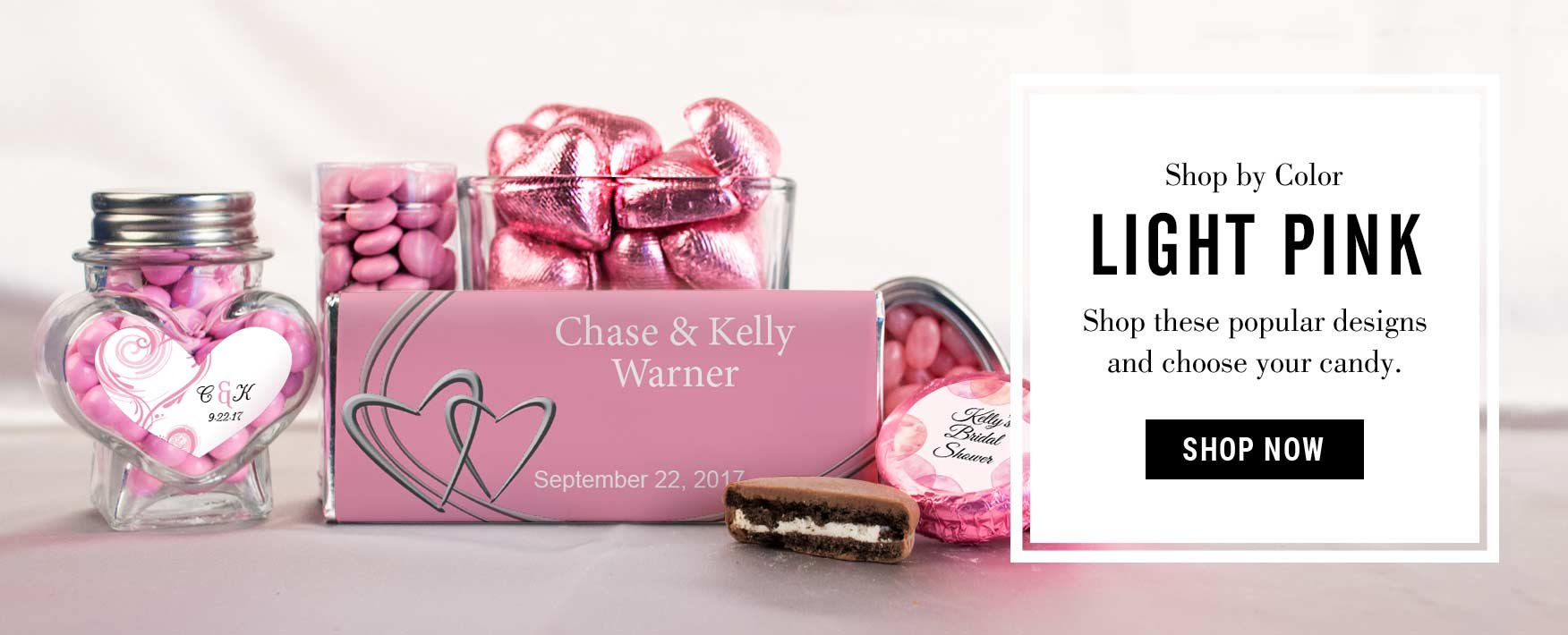 Custom Pink Wedding Favors | Chocolate Candy Wrappers and Bars