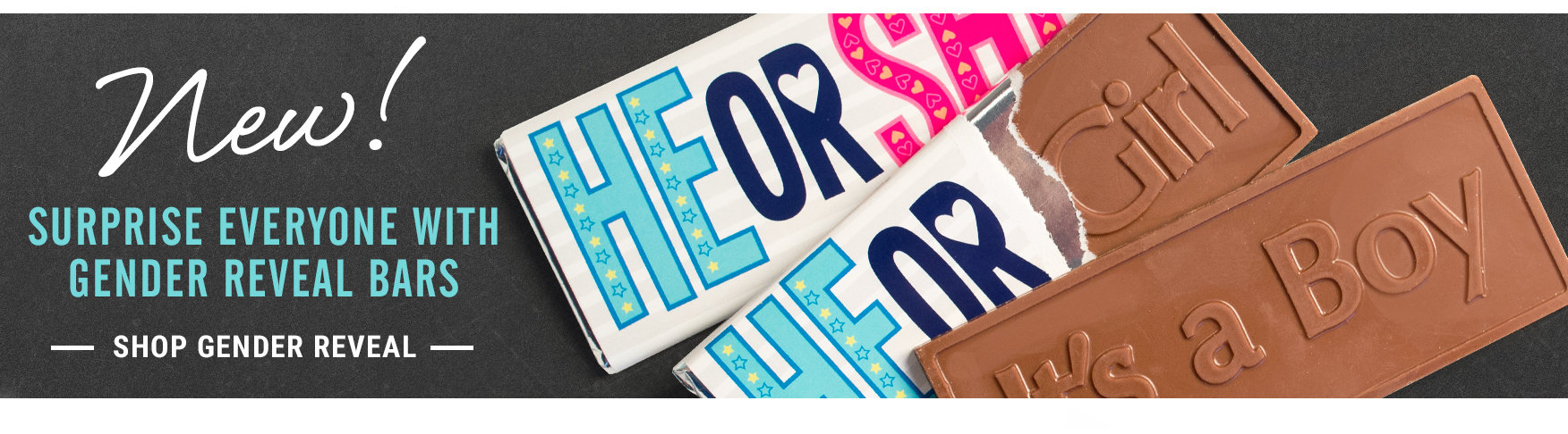 New! Gender Reveal Embossed Bars
