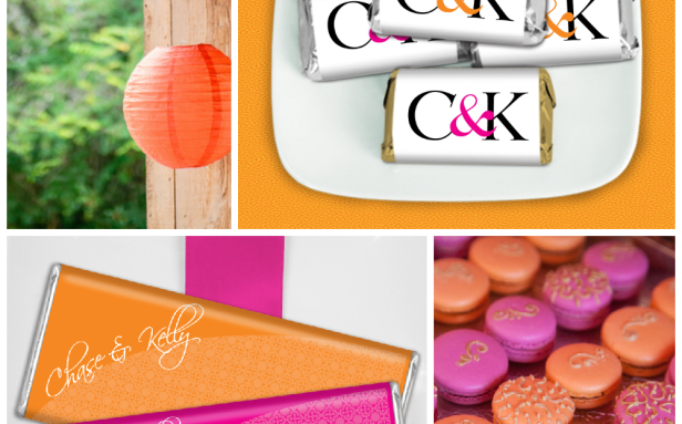 hot pink and orange wedding color theme