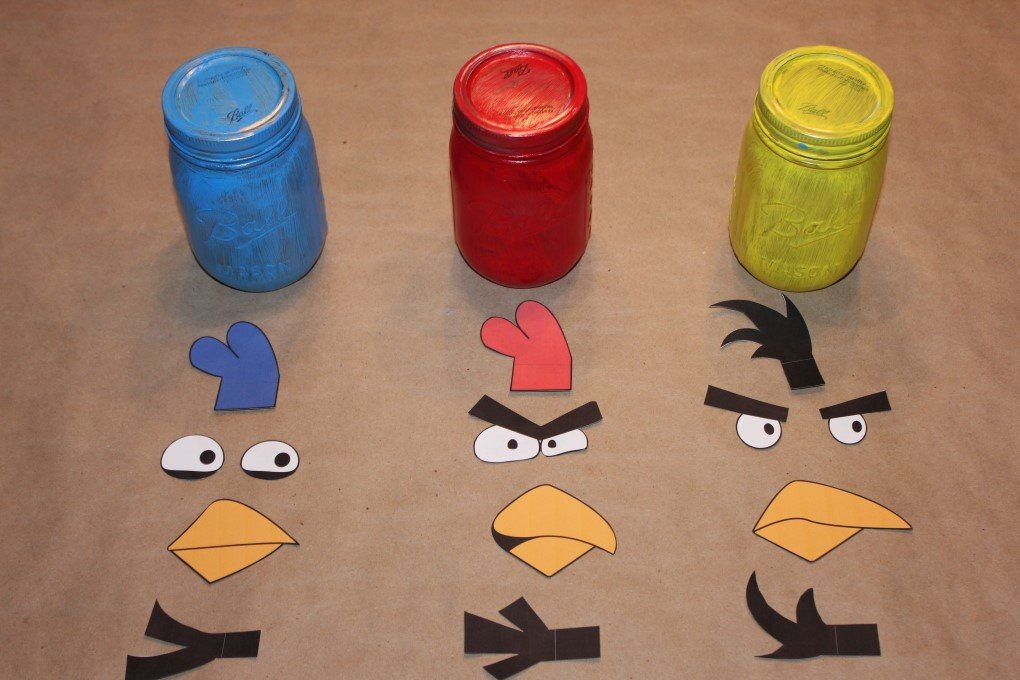 Angry Birds Cut Outs Lined Up with Jars
