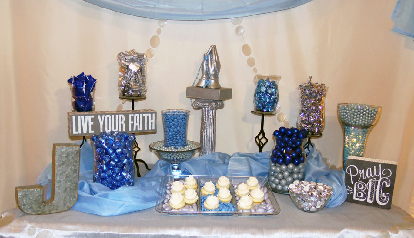 First Communion Boy Party Ideas Light Blue Grey Theme
