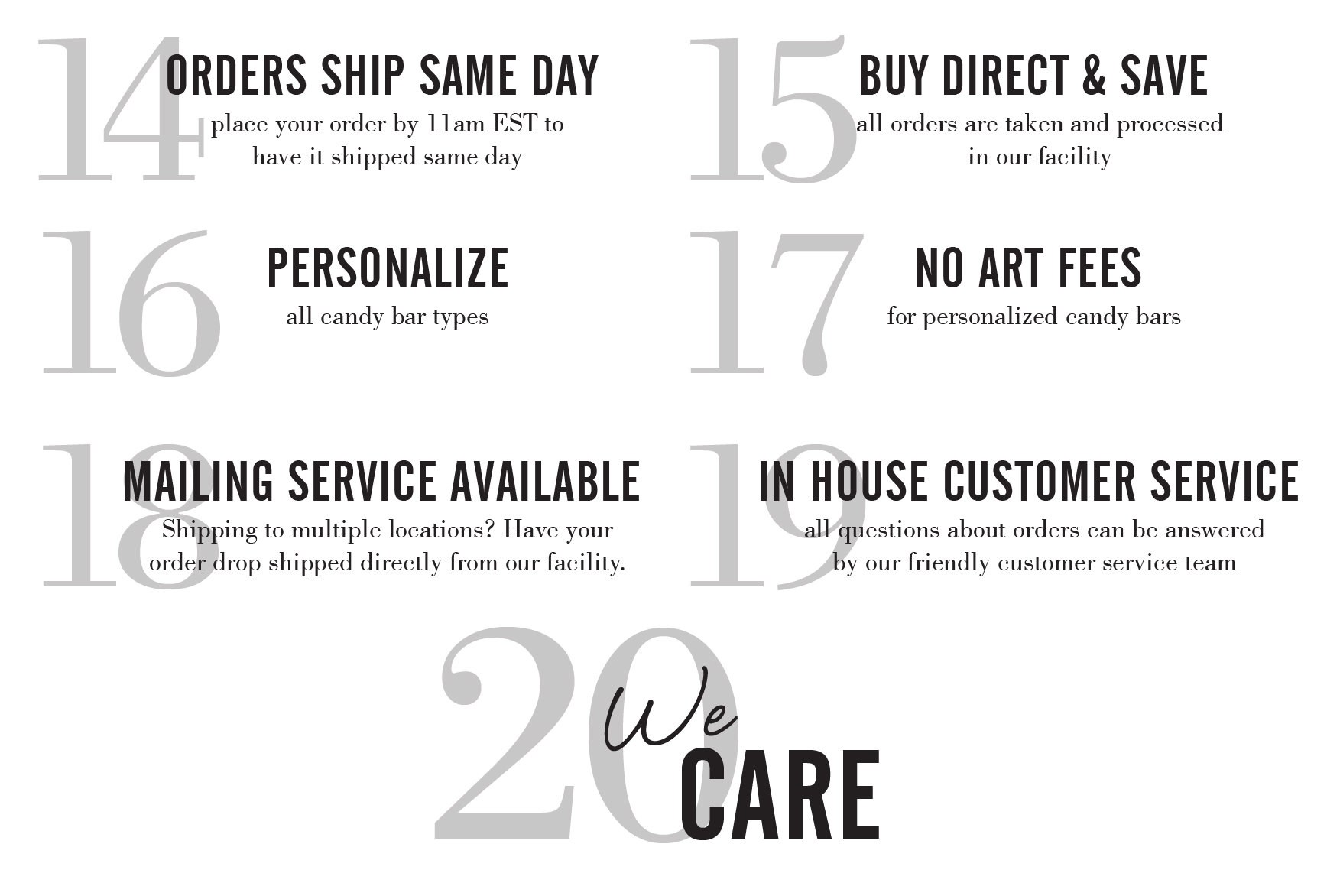 ship same day, personalize, buy direct, no art fees, mailing services, we care