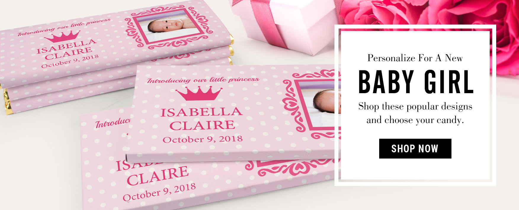 pink baby shower favors for girls chocolate bars wrappers