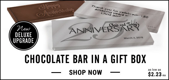 personalized 25th anniversary candy bar in a gift box