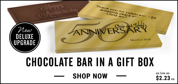 personalized 50th anniversary candy bar in a gift box