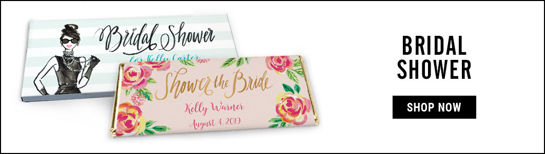 personalized bridal shower candy bar wrappers & boxes