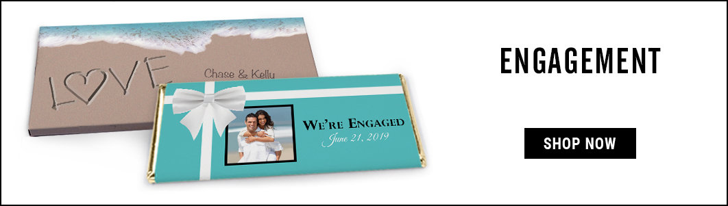 Personalized engagement candy bar wrappers and covers