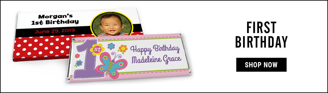 personalized first birthday candy bar wrappers and boxes