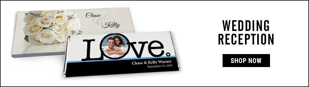 personalized wedding reception candy bar wrappers & boxes