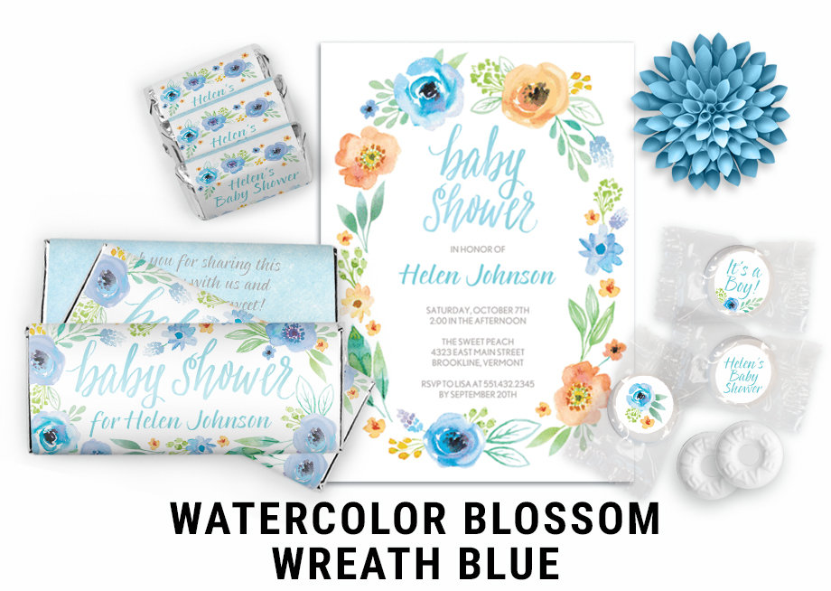 Watercolor Blossom Wreath Blue