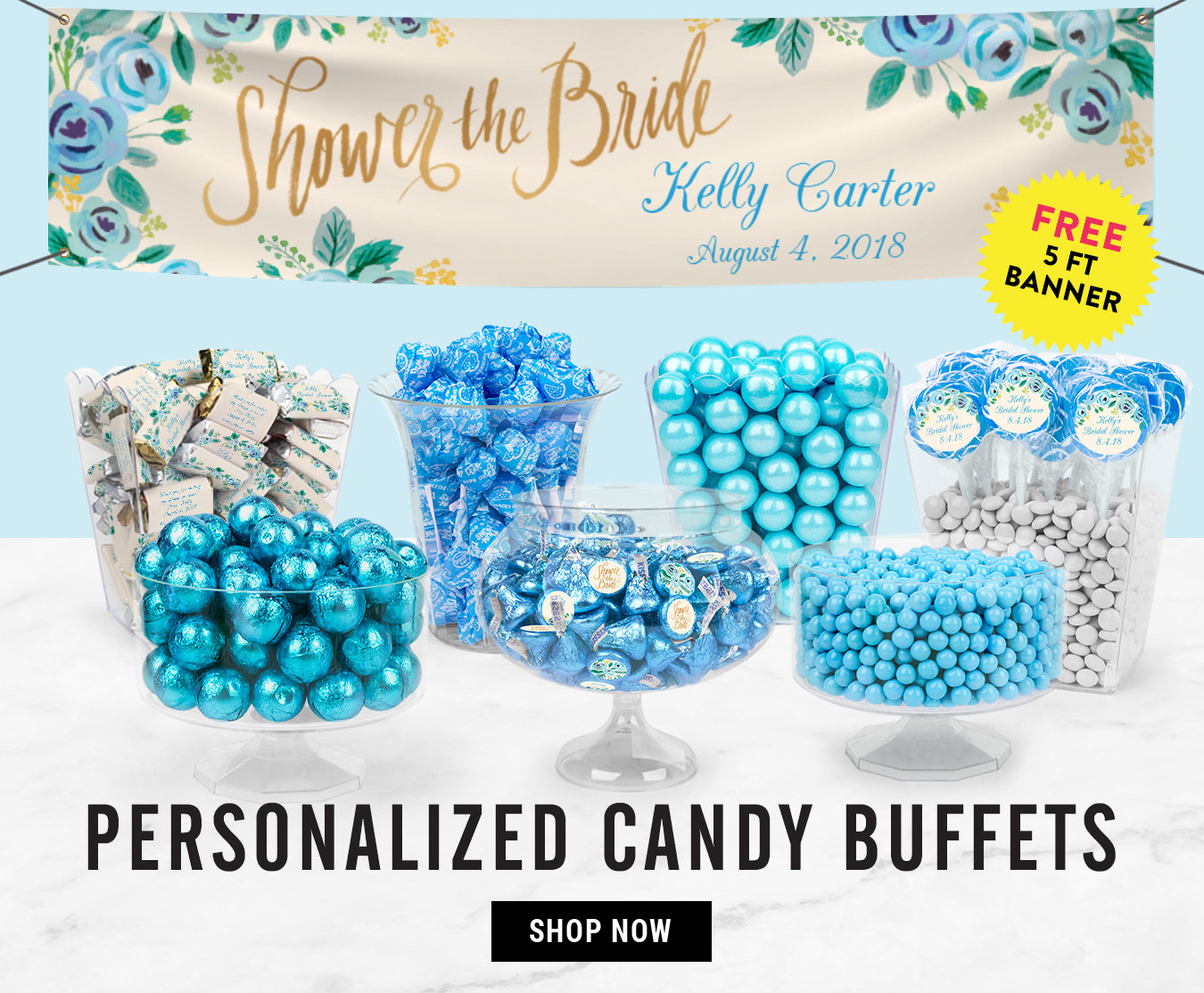 personalized bridal shower candy buffets