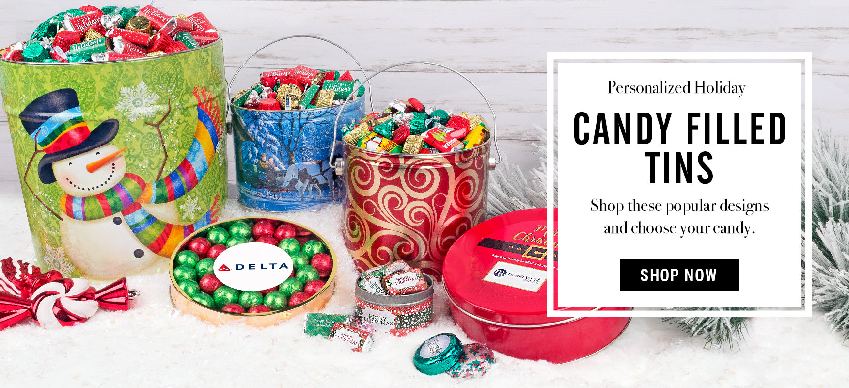 Candy Filled Christmas Tins