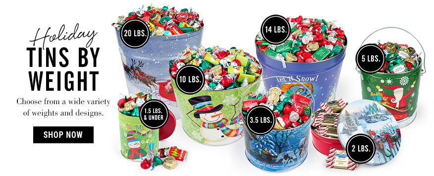 Candy Filed Tins by Weight