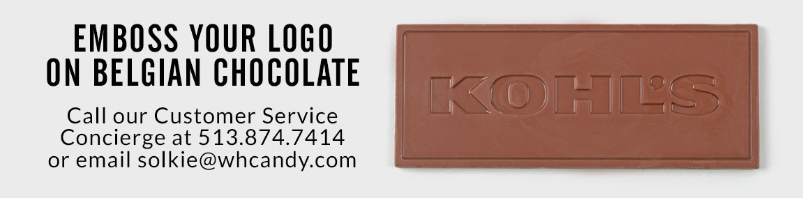 emboss your logo on Belgian chocolate