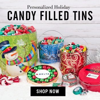 Candy Filled Personalized Christmas Tins