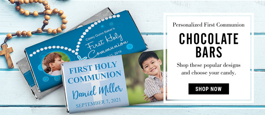 personalized communion candy bars for boys