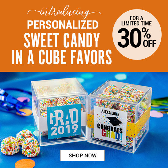 Shop 30% off Personalized Graduation Candy in a Cube Favors