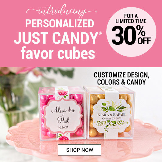 Shop 30% off Personalized Sweet Candy in a Cube Wedding Favors