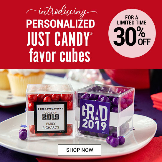 Shop 30% off Personalized Graduation Sweet Candy in a Cube favors