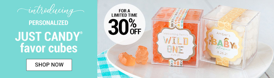 Shop 30% off Personalized JUST CANDY favor cubes