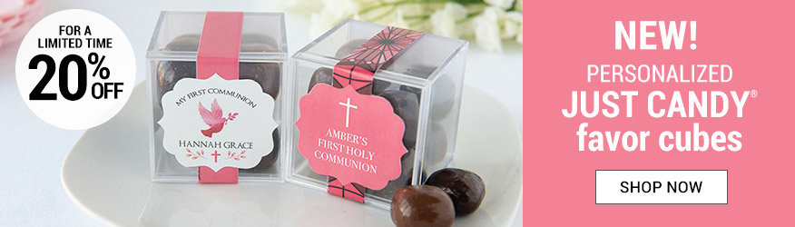 Shop Personalize Girl Communion JUST CANDY® favor cubes