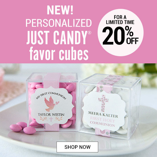 Shop Personalized Girl Communion JUST CANDY® favor cubes