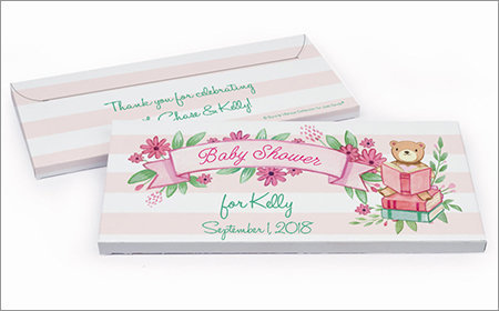 girl baby shower chocolate bar in a gift box