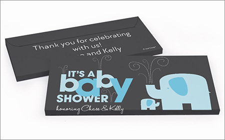 boy baby shower chocolate bar in a gift box
