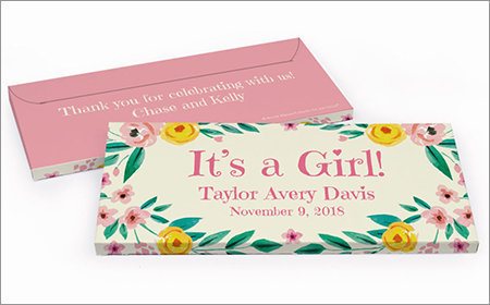 girl birth announcement chocolate bar in a gift box