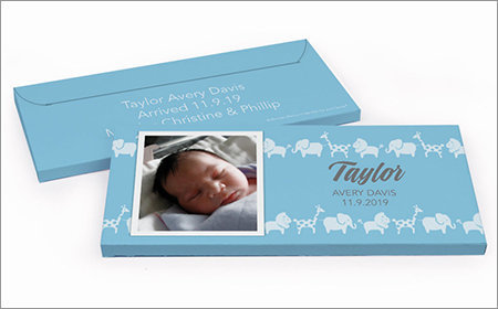 boy birth announcements chocolate bar in a gift box