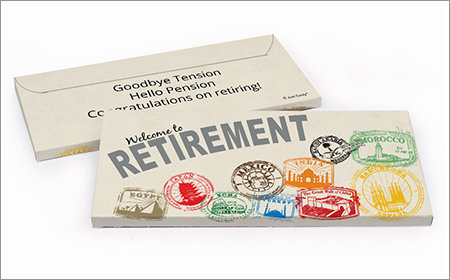 retirement chocolate bar in a gift box