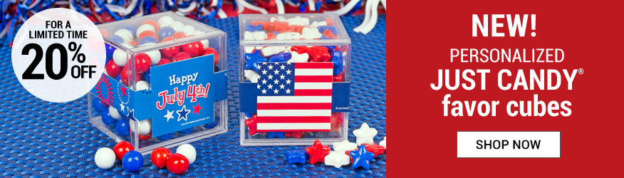 4th of July JUST CANDY favor cubes