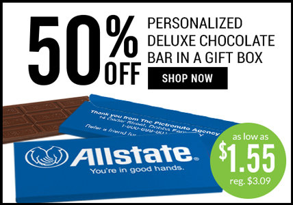 50% off chocolate bar in a gift box