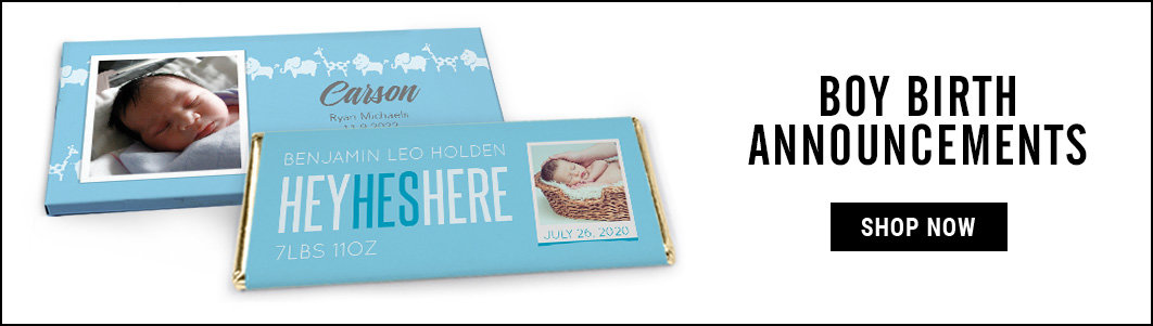 personalized it's a boy birth announcement wrappers and covers