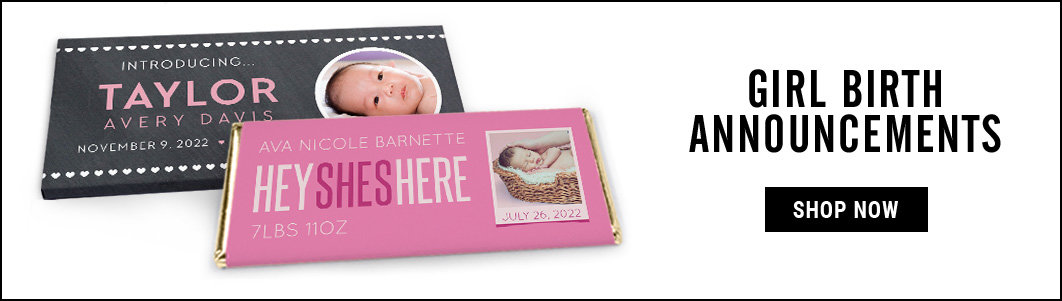 personalized it's a girl birth announcement candy bar wrappers and covers