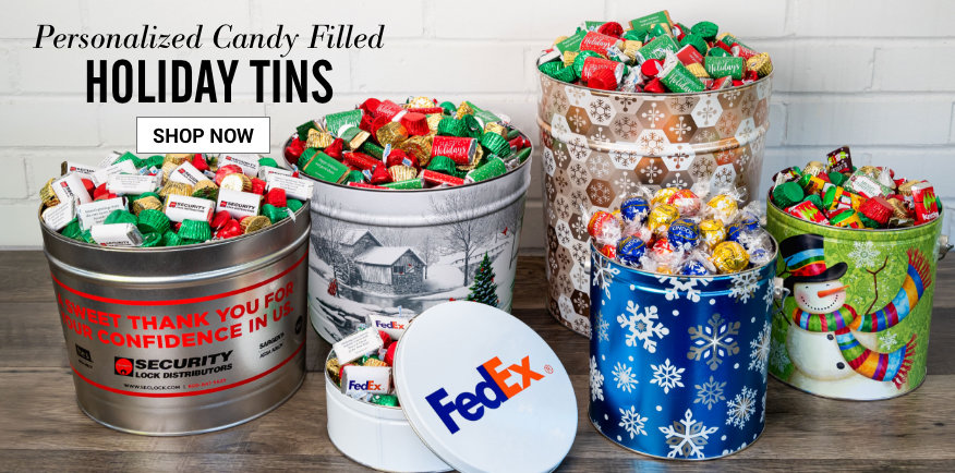 Personalized Candy Filled Christmas Tins