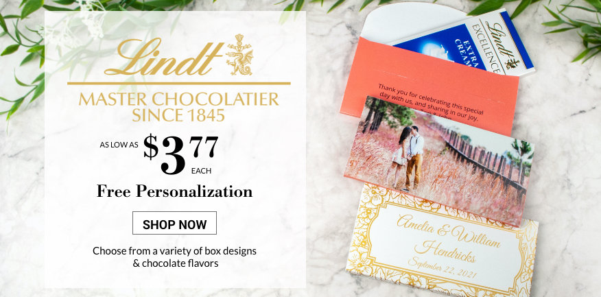 weddding lindt bars in a gift box