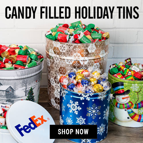 Personalized Holiday Candy Filled Tins