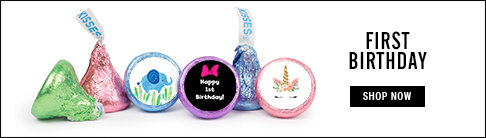 personalized first birthday hershey's kisses