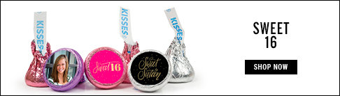 personalized sweet 16 hershey's kisses