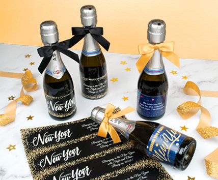 Personalized DIY New Year's Eve Bottle Labels