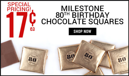 80th birthday chocolate squares
