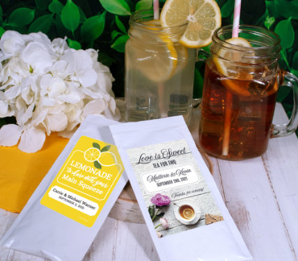 PERSONALIZED ICED TEA AND LEMONADE DRINK MIX WEDDING FAVORS