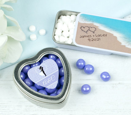 PERSONALIZED METAL TIN WEDDING FAVORS