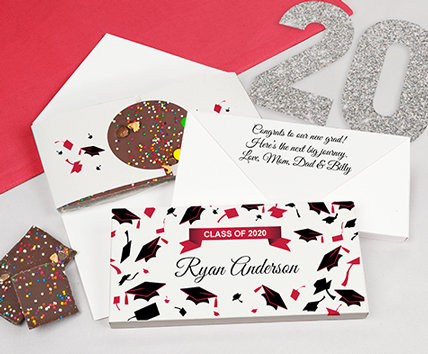 red graduation gourmet infused chocolate bars