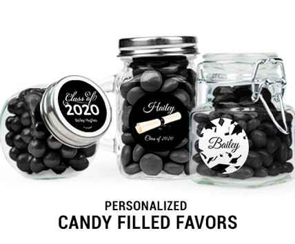 black graduation candy filled favors
