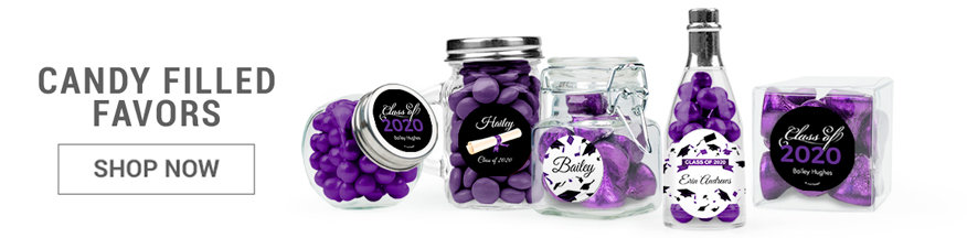 purple graduation candy filled favors