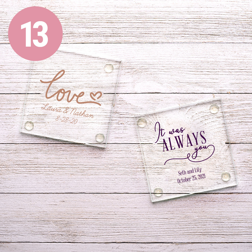 PERSONALIZED WEDDING GLASS COASTER
