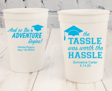Personalized Baby Blue Graduation Plastic Cups