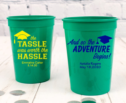 Personalized Green Graduation Plastic Cups